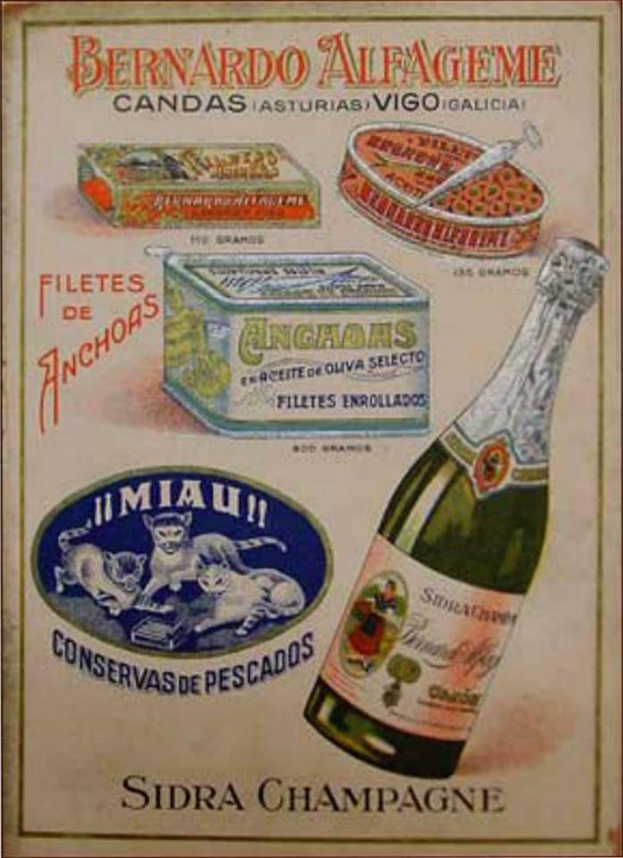Antiguo anuncio de las fábricas de BERNARDO ALFAGEME, en Candás, de sidra champagne y conservas de pescados