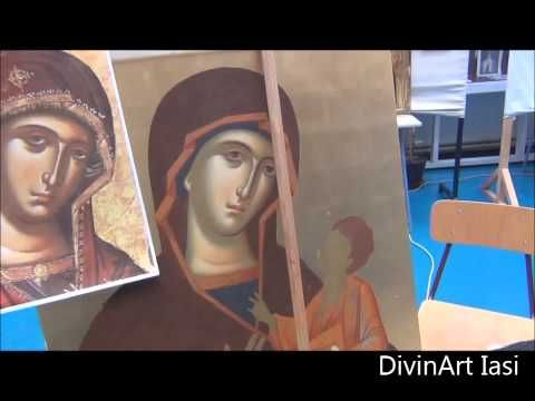 Painting holy face at Mother of God icon 70x90 - YouTube