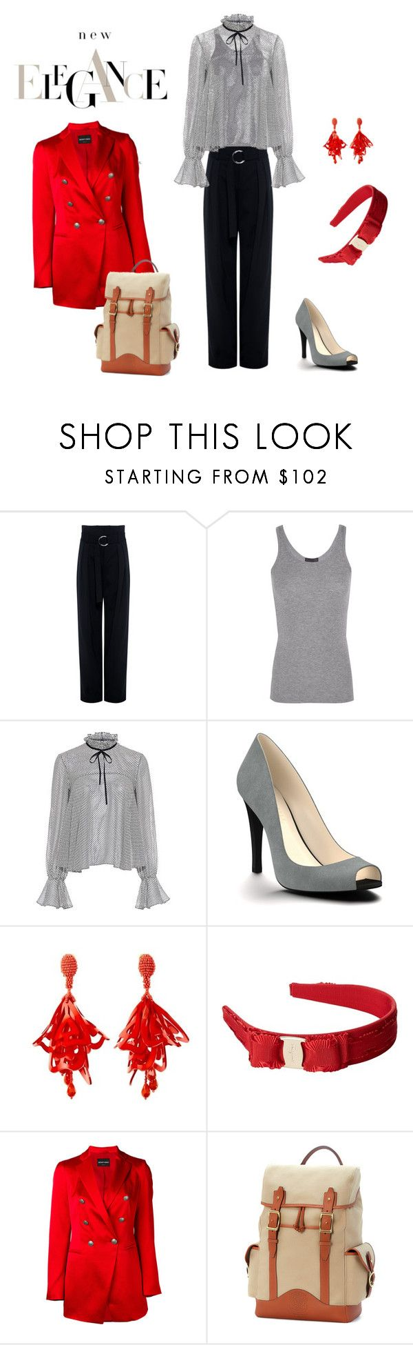 """Untitled #3"" by m-hassay ❤ liked on Polyvore featuring IRO, ATM by Anthony Thomas Melillo, Saloni, Shoes of Prey, Oscar de la Renta, Salvatore Ferragamo, Emporio Armani and Ghurka"