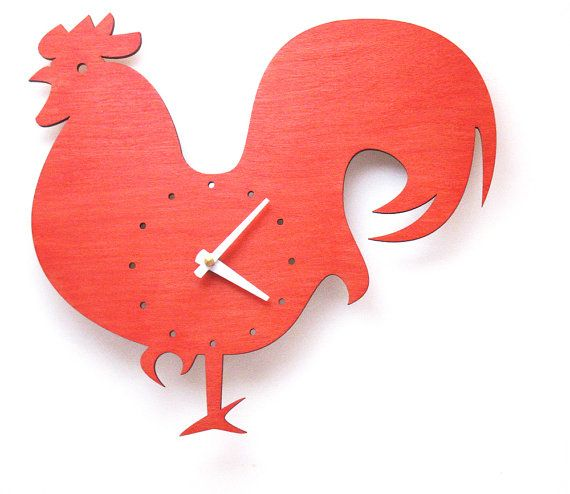 The Wake Up Red Rooster wall mounted clock from LeLuni by LeLuni, $48.00