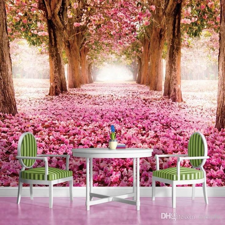 3d wallpaper pink flower trees wall mural custom natural for Nature room wallpaper