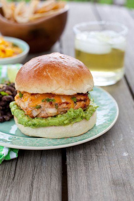* Jalapeno Cheddar Chicken Burgers with Guacamole   Annie's Eats by annieseats (plus her recipe for homemade buns)