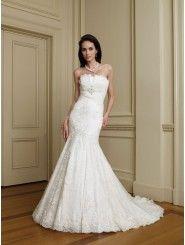 Organza Strapless Architecturally Pleated Bodice Mermaid Wedding Dress