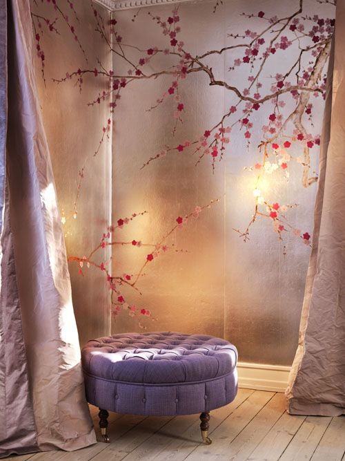 My livingroom, Hand painted panels by de gournay, plum blossom
