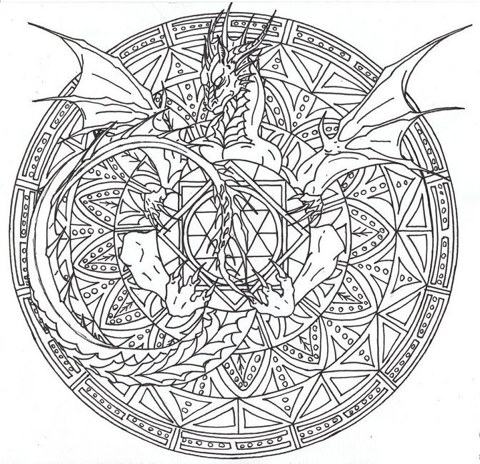 mandala color pages dragon mandala animal mandala mandala coloring - Animal Mandala Coloring Pages Easy