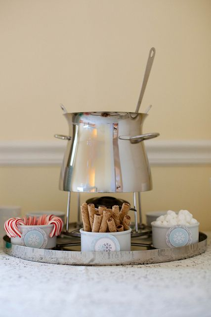 holiday party 2012 by annieseats, via Flickr ~ hot cocoa bar, with the cocoa kept warm in a fondue pot