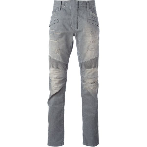 Balmain biker jean (22.723.055 VND) ❤ liked on Polyvore featuring men's fashion, men's clothing, men's jeans, grey, balmain men's jeans, mens grey jeans, mens button fly jeans and gray mens jeans