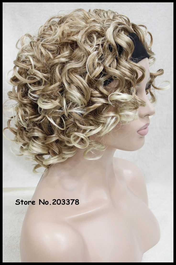 Short Perruque Fake Synthetic Women Frizzy Blonde Curly Wigs 3/4 Half Wig With Headband For Lady African Amrican Black Women