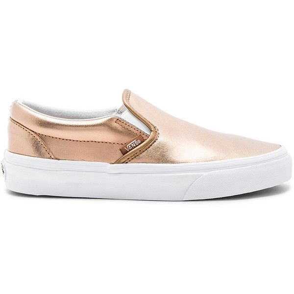 Vans Classic Slip On Sneaker found on Polyvore featuring shoes, sneakers, vans footwear, leather upper shoes, vans sneakers, pull on shoes and metallic slip-on sneakers