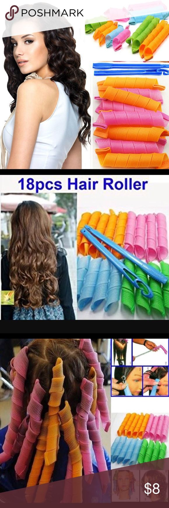 Hair Rollers 55CM(18 PCs+3Hooks) Extra Wide long big Hair Curlers  Curl magic salon  Ringlet! Accessories Hair Accessories