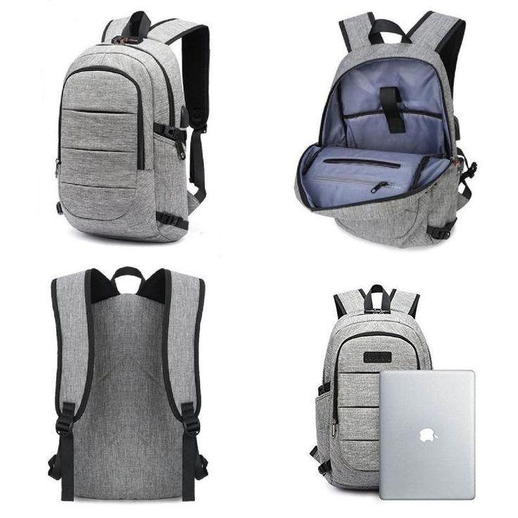 FYI: Water Resistant Laptop Backpack USB Charge Padded Bag Headpfhones Slot 15.6""