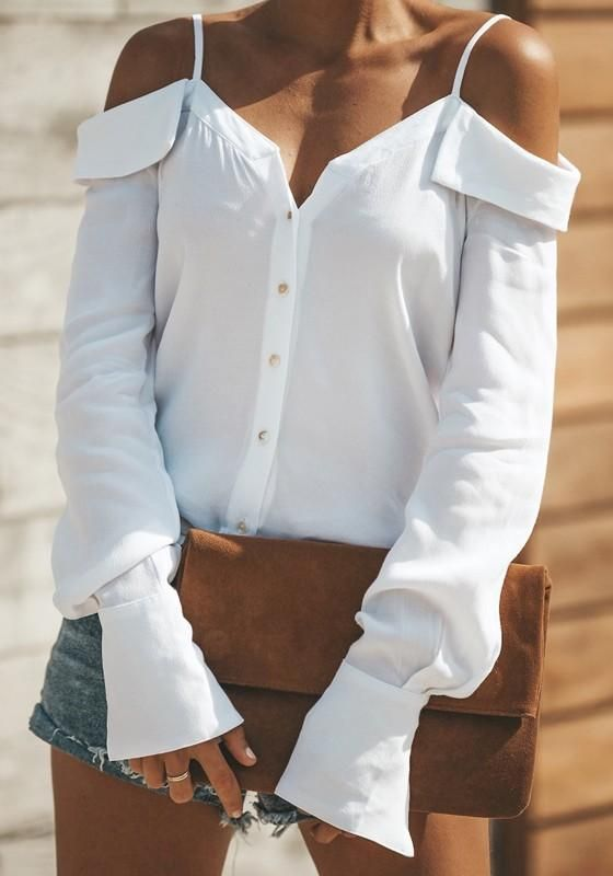 572f8924149ff4 White Single Breasted Ruffle Spaghetti Strap Backless V-neck Office Worker/Daily  Blouse