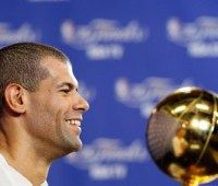 Shane Battier has his second championship ring sized for his middle finger, just like his first