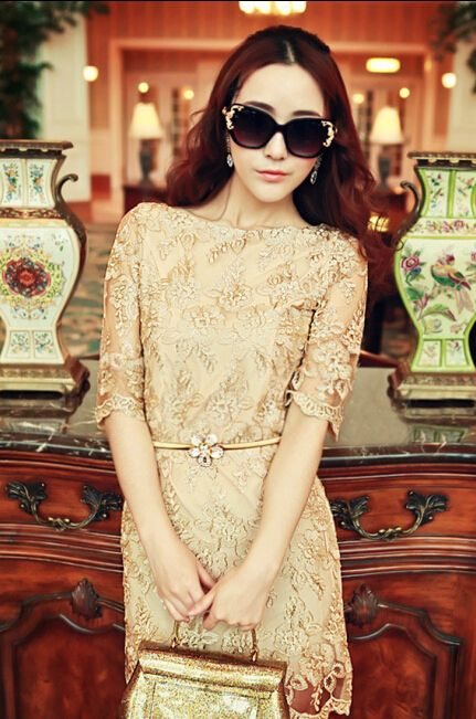 >> Click to Buy << 2016 Spring Embroidery Women Summer Elegant Fashion Lace Dress Golden Cocktail Party Dresses Vestidos De Renda Festa Femininas #Affiliate