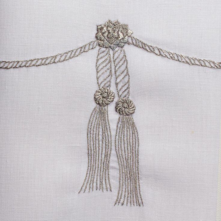 Tassel Silver<br>Towel - White Linen