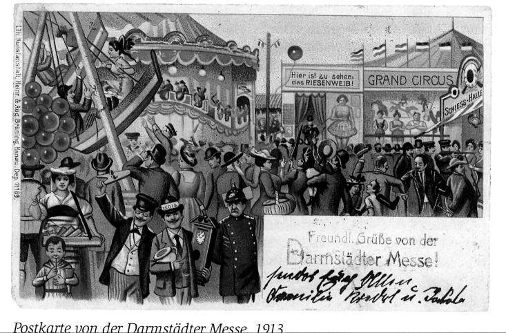 History - Darmstädter Schaustellerverband Postkarte von der Darmstädter Meß 1913