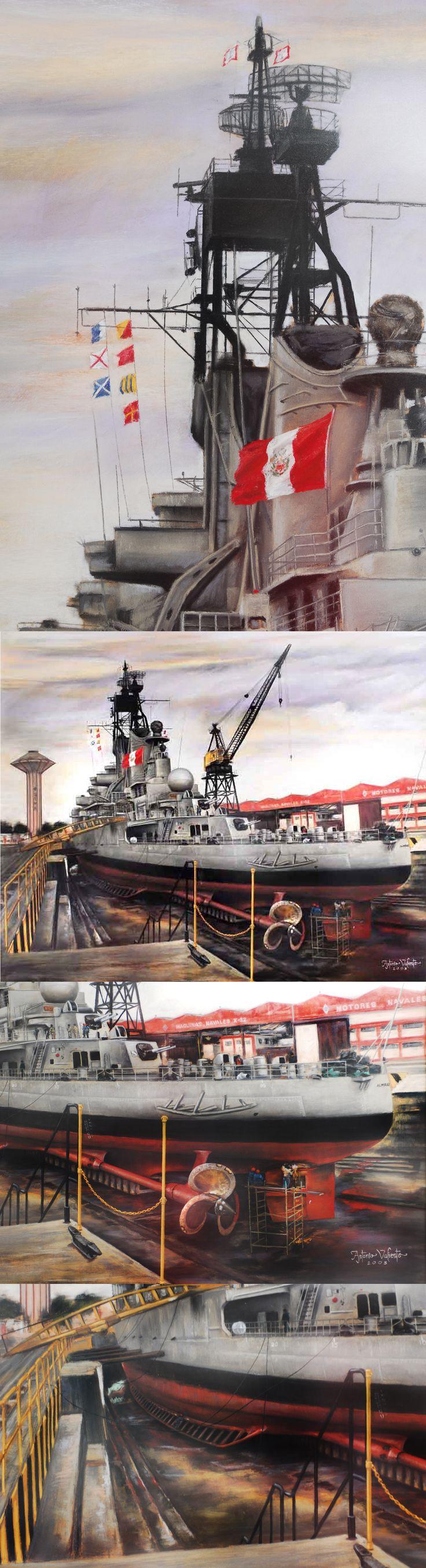 Antonio Valiente Medina BAP: Almirante Grau en Dique Pintura en Tiza Pastel