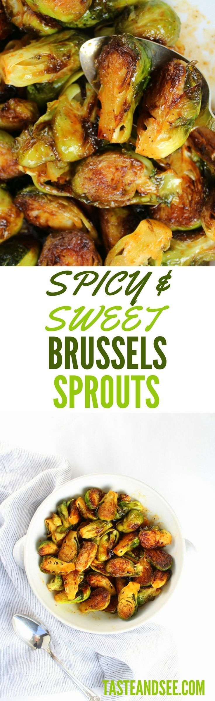 Spicy and Sweet Brussels Sprouts - tangy, sweet and zesty! W/ honey, lime, & Sriracha sauce. http://tasteandsee.com