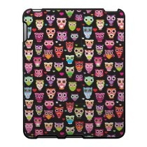 Retro owl pattern illustration ipad cases by designalicious