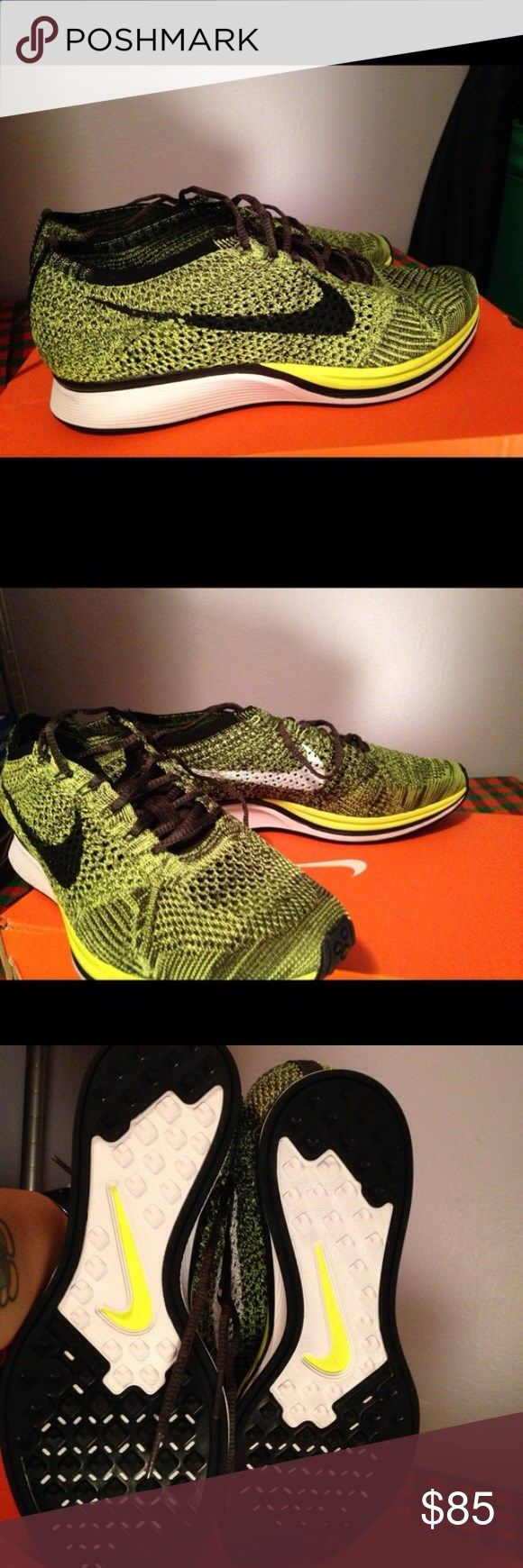 Nike flyknit racer volt Nike flyknit racer Volt/black in great condition 10/10 style number 526628-731 Men size 8.5 Convert to women size its a 10 IT WILL COME IN ITS ORIGINAL BOX :) SEND ME SOME REASONABLE OFFERS Nike Shoes Sneakers