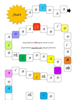 Generic ABCD Game Mat for kids to use when practicing multiple choice questions. Kids can read game cards with ABCD answers, and then move around the board. Teachers are able to use any set of game cards to make the game work for what they are teaching!