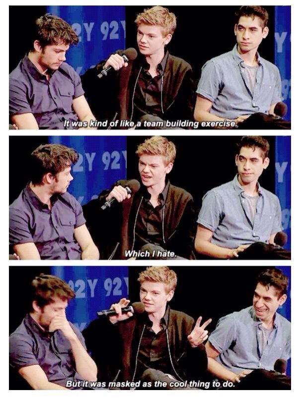 Thomas hates team building exercises. <-- love his face when he says so.