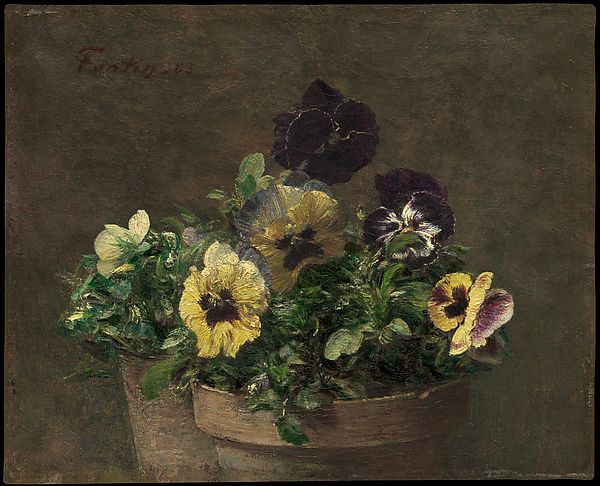 """""""Potted Pansies"""" by Henri Fantin-Latour, French artist known for his flower paintings, 1836-1909"""