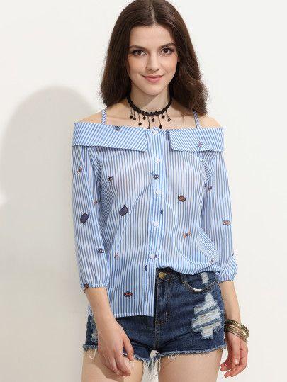 Blusa rayas caricatura hombros descubiertos - azul
