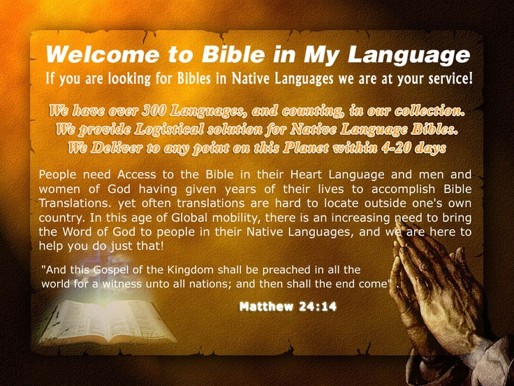 Intro to BIBLE IN MY LANGUAGE, the World's leader in Foreign language Bibles!