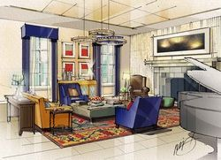 184 Best Hand Rendered Interiors Images On Pinterest Sketches