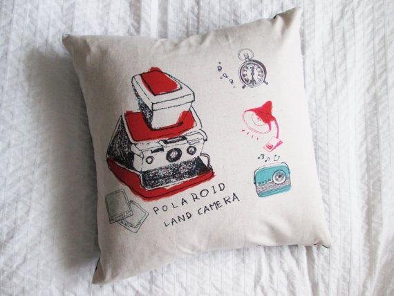 Handmade cotton/linen throw pillow, polaroid cushion, home decor