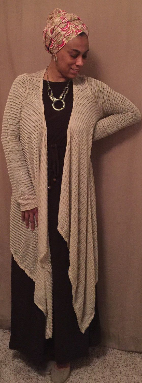 Women's Cardigan, khaki, long cardigan, knit cardigan, draped cardigan, modest, modest clothing, cadigans for women, by Siri2Siri on Etsy