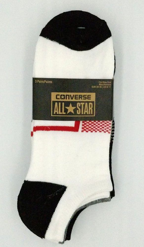 Converse Mens Socks Trainer Liner 3 Pack No Show Just For Chucks Gym All Star A
