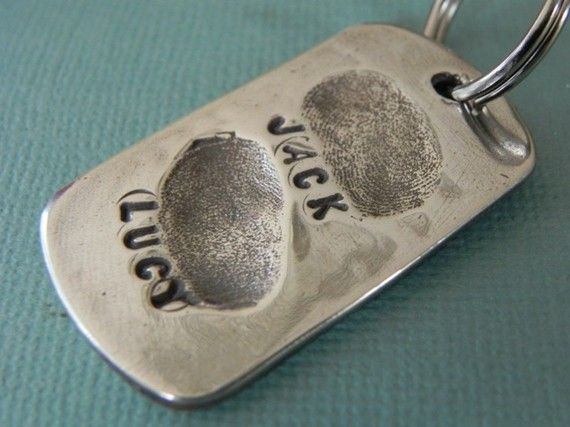 Fingerprint Jewelry Silver Personalized Keychain -Gift for Dad from Kids