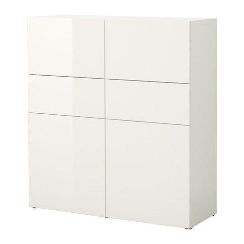 BESTÅ Comb almacenaje&puertas/cajones - blanco/alto brillo blanco  - IKEA