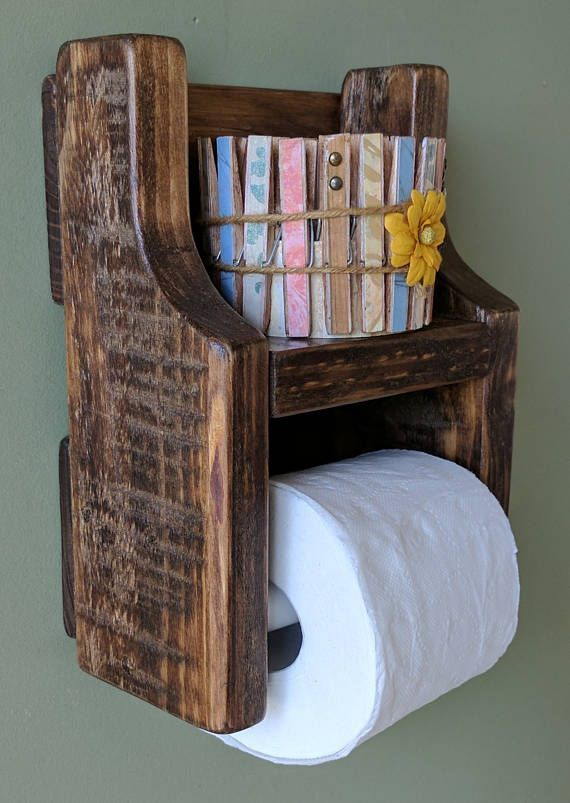 Rustic Toilet Paper Holder with Shelf made from Reclaimed and   – diy – #Diy #ho…   – most beautiful shelves