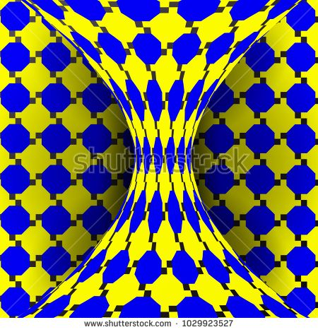 Illusion Vector. Optical 3d Art. Rotation Dynamic Optical Effect. Swirl Illusion. Delusion, Endless, Fallacy. Geometric Magic Background Illustration