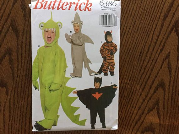 childrens halloween costume pattern includes a shark bat man dinosaur and devil sizes 1 23 4and 5 6 this is a factory folded uncut pattern - Childrens Halloween Costume Patterns