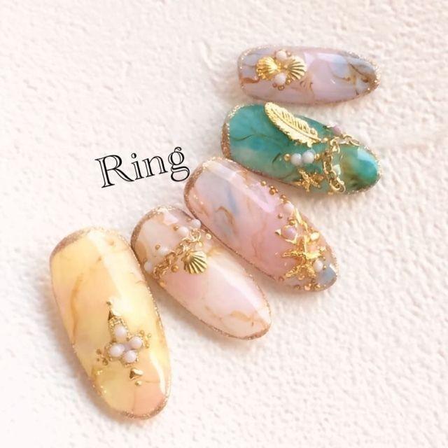 ネイル 画像 ♦︎恵比寿♦︎リング(Ring) 恵比寿 1644248 パステル ピンク カラフル スターフィッシュ トロピカル マーブル 春 夏 海 リゾート チップ ハンド ミディアム