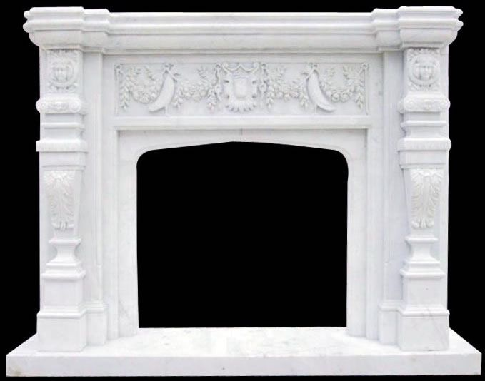 Florida White Marble Fireplace | Florida Fireplaces | Marble beautifully hand carved details on this tropical style mantel by ARTISAN KRAFT