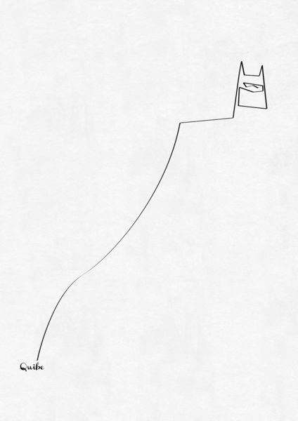 Minimalist Batman -  French artist Christophe Louis, aka Quibe, created these beautiful One Line prints. Quibe used one continuous line that covers every crucial detail before gradually fading out