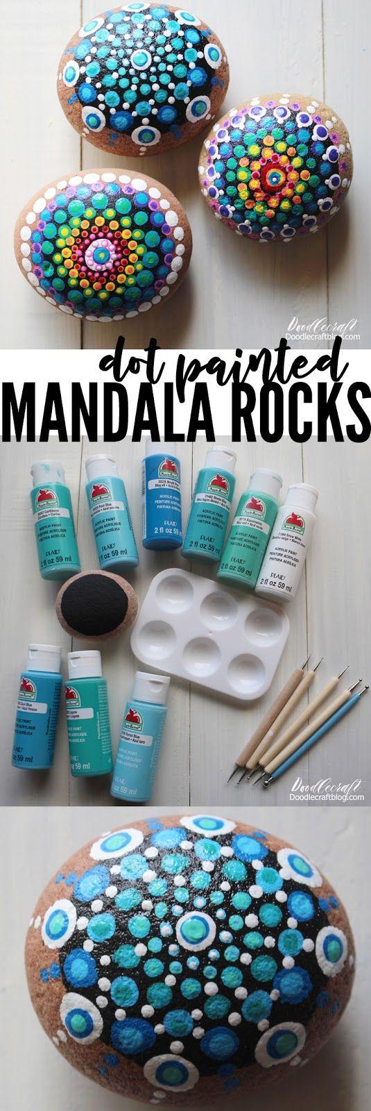 Punkt gemalte Mandala-Felsen DIY