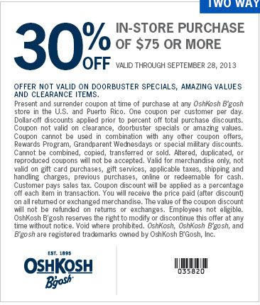 graphic about Oshkosh Printable Coupon known as Oshkosh in just retail outlet coupon codes 2018 / Aop homeschooling coupon code