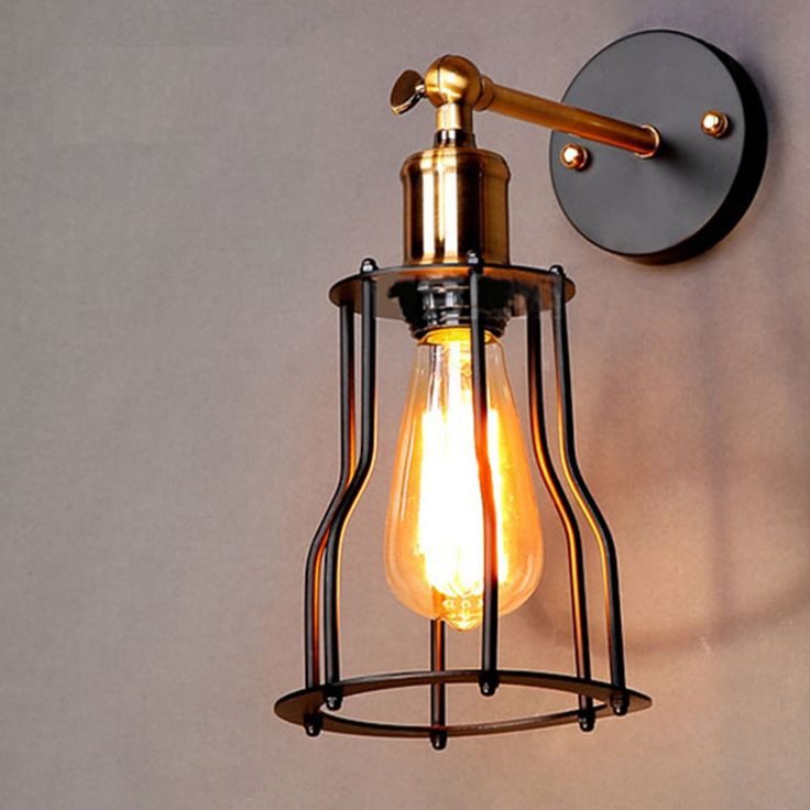 Free Shipping Vintage Industrial Lighting wall Lights E27 Country Small Black Metal Lamps Edison Lighting Fixtures Lamp