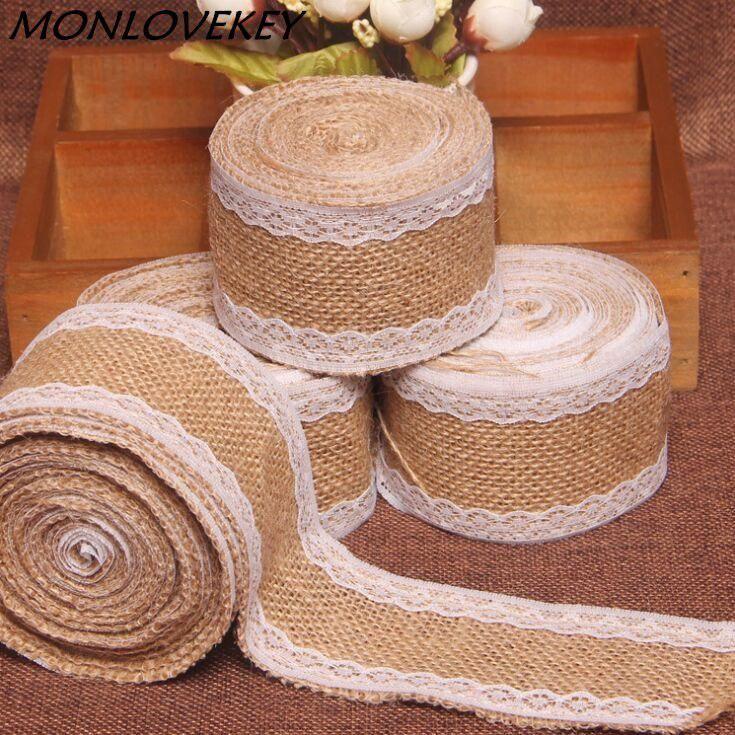 2 Meters Burlap Ribbon Trim Arts Crafts Supplies Wedding Party Baby Shower Decor