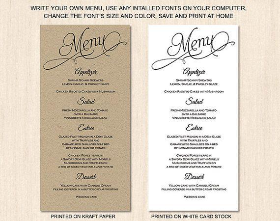Rustic script menu card template by PrintableWeddingDIY on Etsy, $8.00