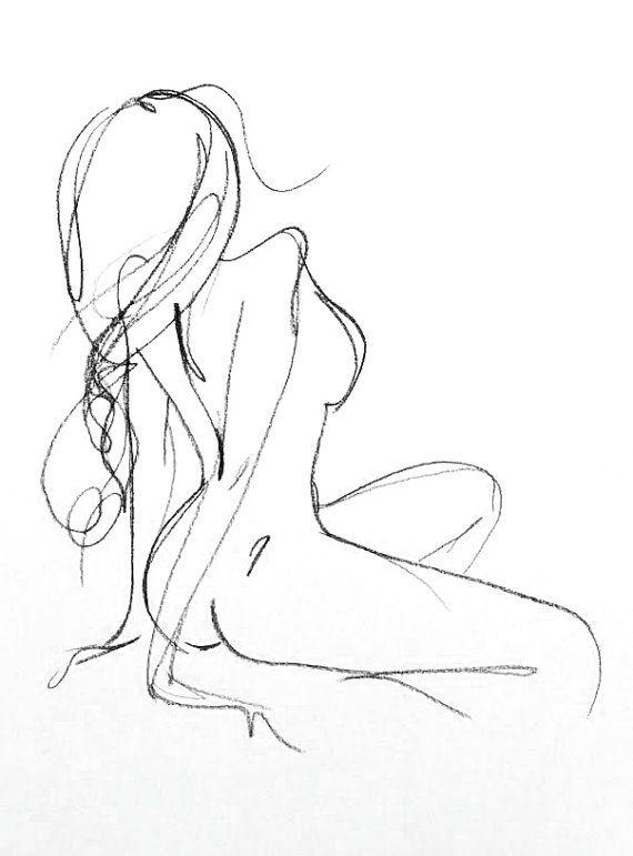Original Charcoal féminin esquisse - Portrait de la Figure féminine - salle de bains Chambre d'Art Art - dessin de nu un minimum romantique Sexy