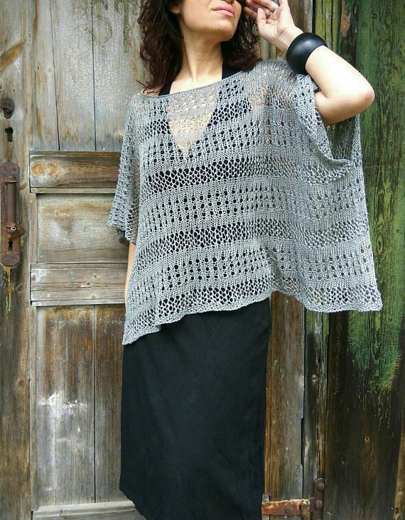 Grey Linen Handknitted Sweater Lightweight Flax Poncho Loose
