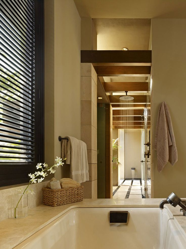 Interior Modern Bathroom Design With Patented Bathtub And Window Blinds Also Instant Storage