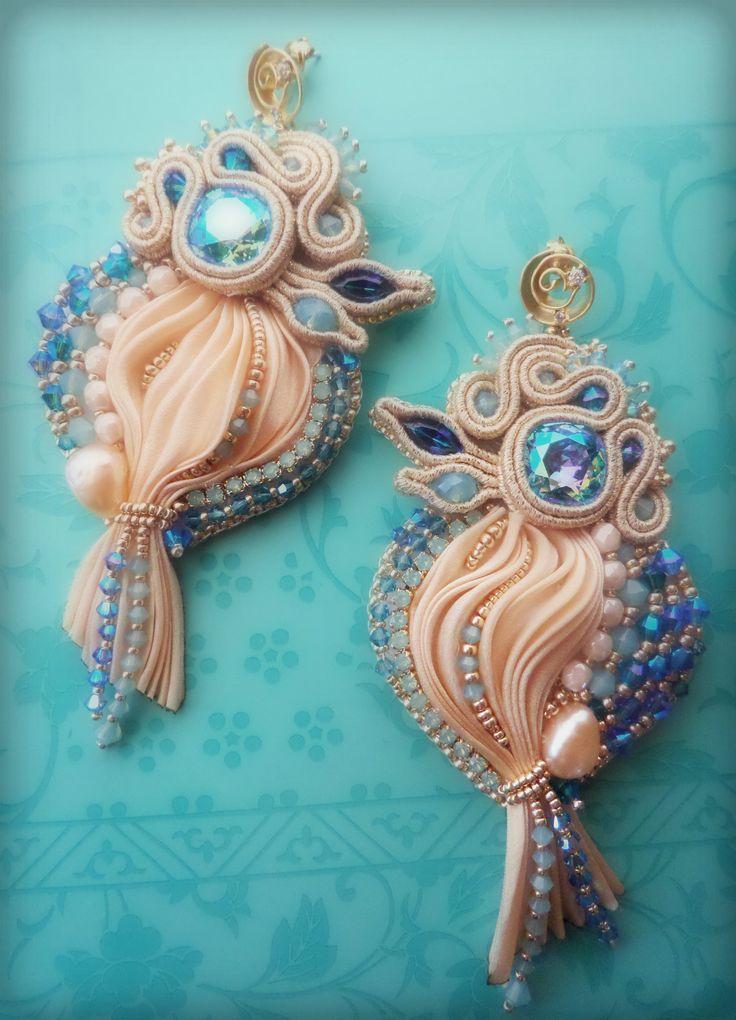 EARRINGS - bead embroidery, shibori silk, soutache, swarovski. Designed by…